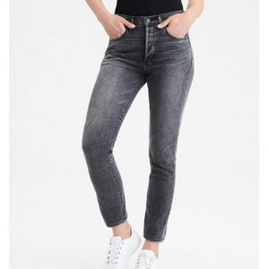 AEO high rise girlfriend black button fly jeans